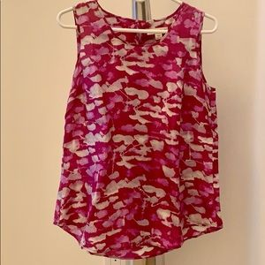 COLDWATER CREEK sleeveless silk top hot pink M